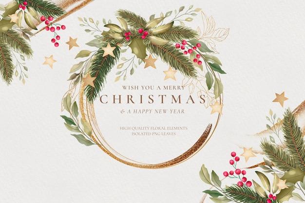 Aquarell-weihnachtshintergrund mit goldenem rahmen