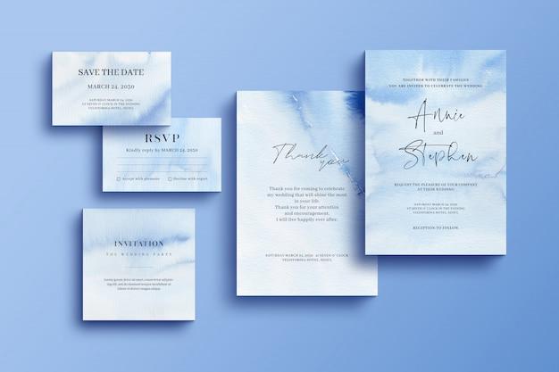 Aquarelleinladungsschablone, hochzeitsbriefpapier gesetzt
