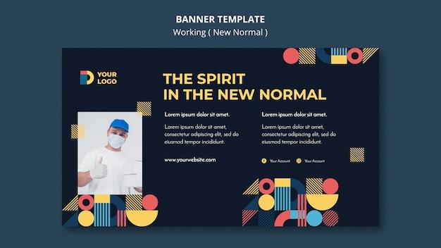 Arbeiten in der neuen normalen horizontalen banner-vorlage