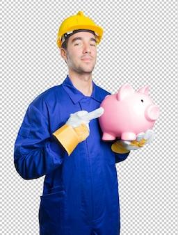Arbeiter sorgte sich um seine wirtschaft auf weißem hintergrund