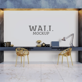 Arbeits- und arbeitsräume mit goldenen stühlen als highlights und wandmodell