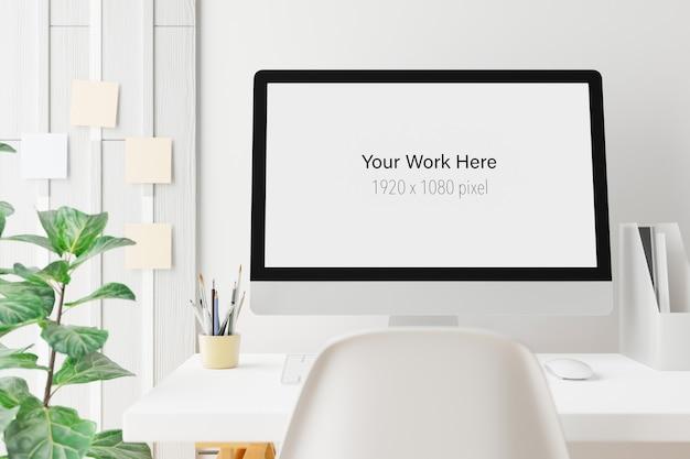 Arbeitsbereich mit modellbildschirm des laptops im 3d-rendering