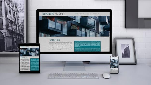 Arbeitsbereich-modell mit computer