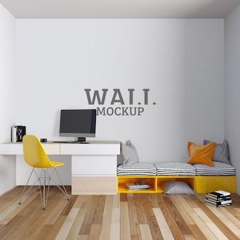 Arbeitszimmer mit einfachen modernen linien und wandmodell gestaltet
