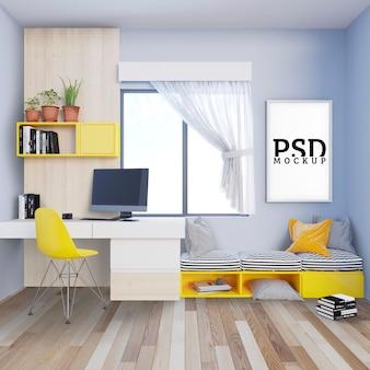 Arbeitszimmer mit sofabank und bilderrahmen