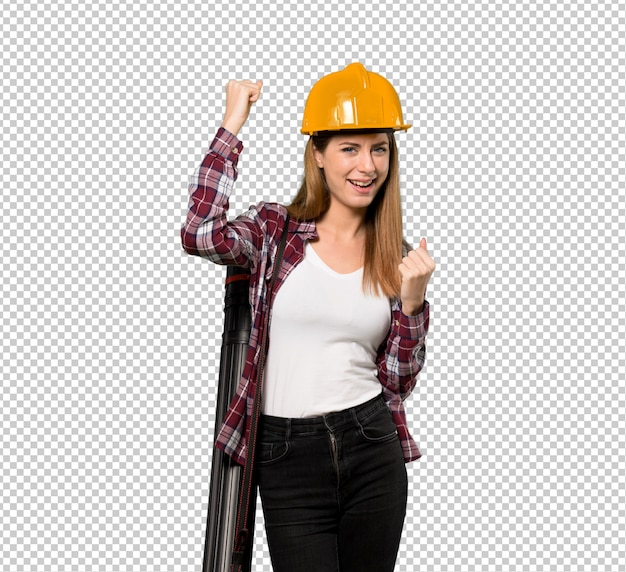 Architektenfrau, die einen sieg feiert