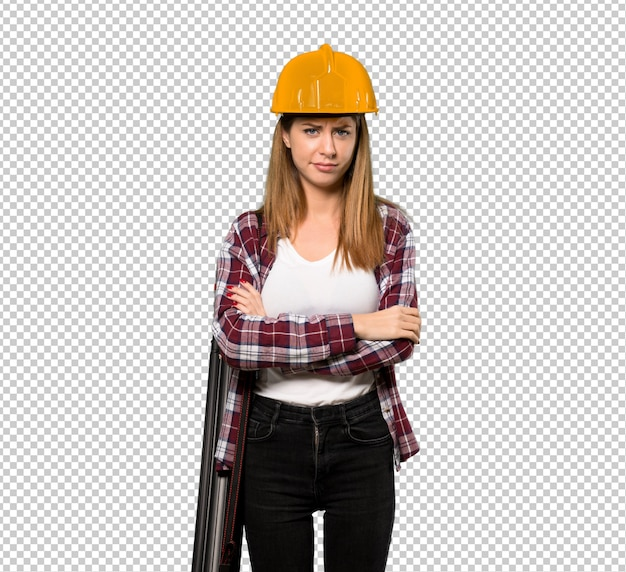 Architektenfrau, die verärgert sich fühlt