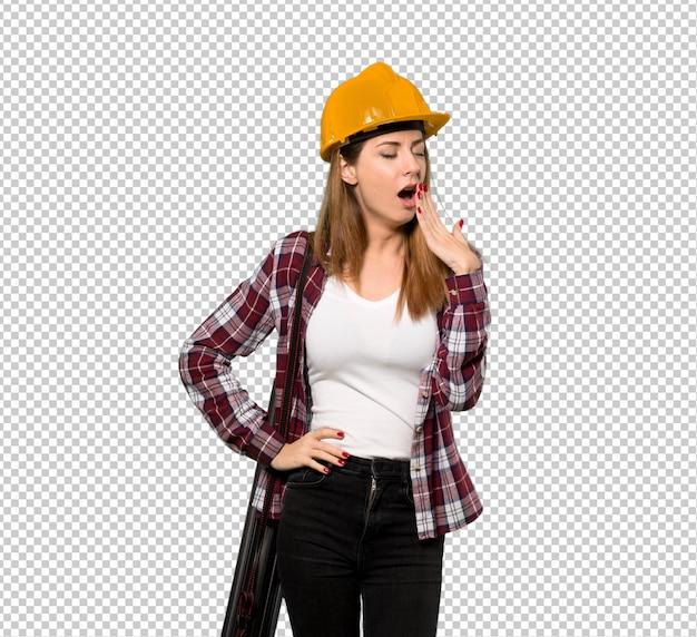 Architektenfrau, die weit offenen mund mit der hand gähnt und bedeckt