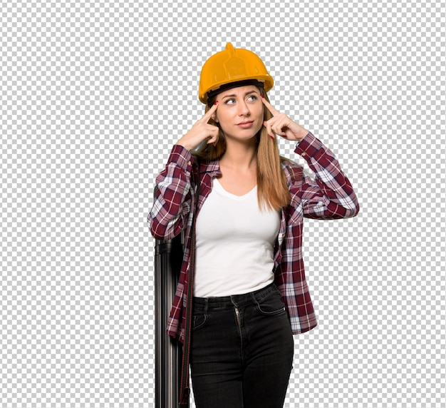 Architektenfrau, die zweifel und denken hat