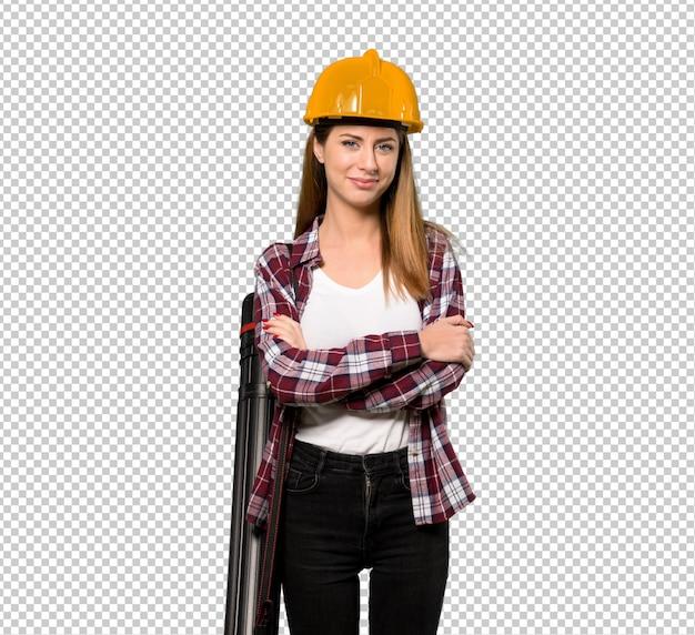 Architektenfrau, welche die arme in der vorderen position gekreuzt hält