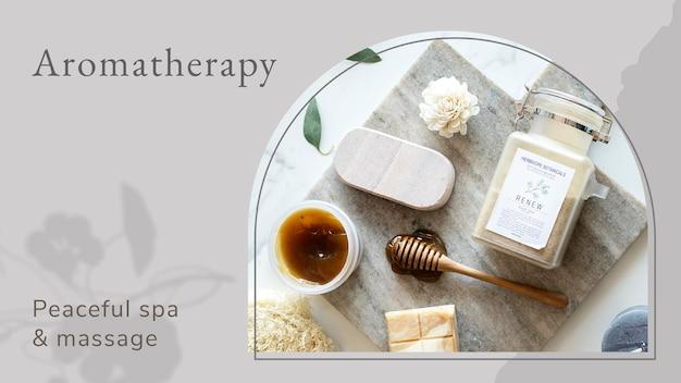 Aromatherapie-wellness-vorlage psd / vektor mit spa-körperpflegeprodukten hintergrund