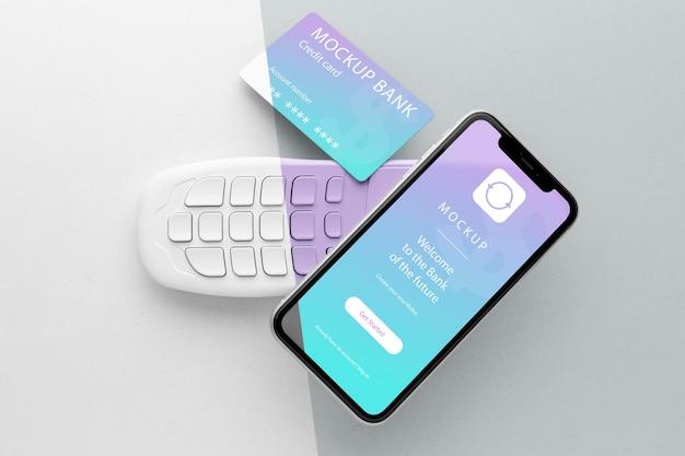 Arrangement mit smart-payment-app-mock-up