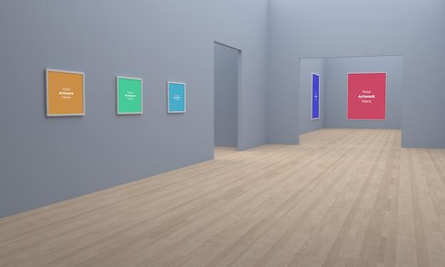 Art gallery frames muckup 3d-illustration und 3d-rendering-eckansicht auf grauen wänden
