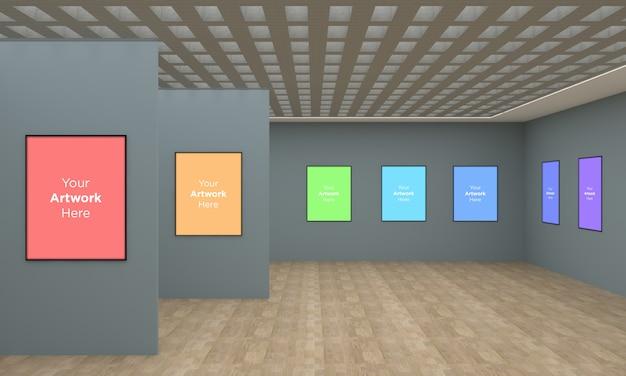 Art gallery frames muckup 3d-illustration und 3d-rendering mit unterschiedlicher wand