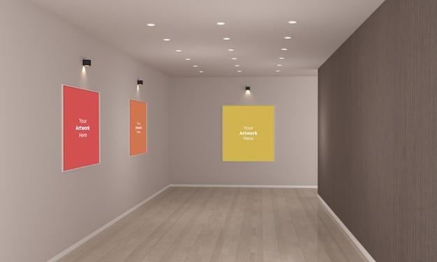 Art gallery frames muckup mit scheinwerfern 3d-illustration und 3d-rendering