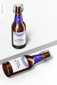 Artisan beer bottles mockup