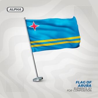 Aruba realistische 3d strukturierte flagge für komposition