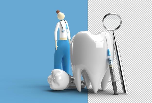 Arzt mit zahnimplantaten chirurgie konzept 3d-rendering transparente psd-datei