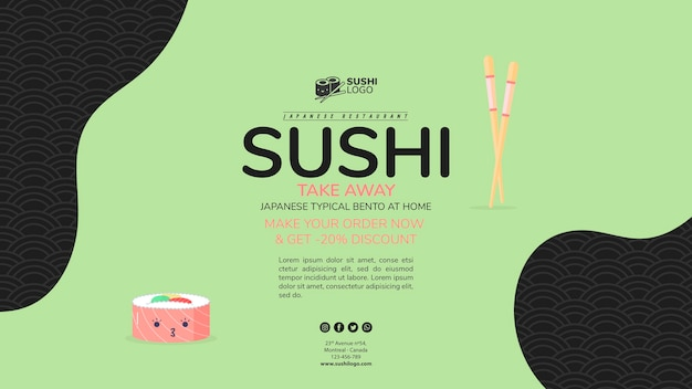 Asiatische sushirestaurant-fahnenschablone