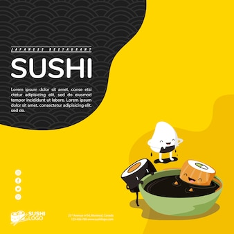 Asiatische sushirestaurantquadrat-fahnenschablone