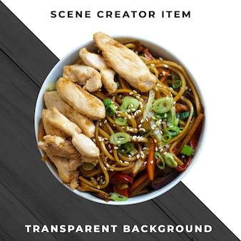 Asiatisches essen auf platte transparent psd