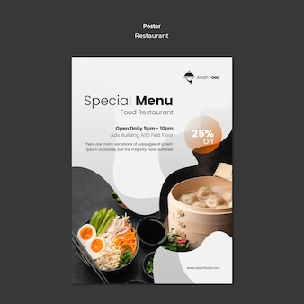 Asiatisches lebensmittelrestaurantplakatschablone