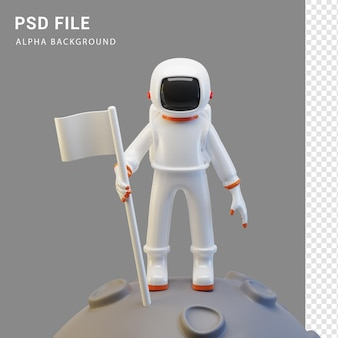 Astronaut-charakter mit flagge in 3d-rendering