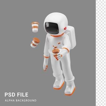 Astronaut-charakter mit kaffee in 3d-rendering