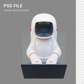 Astronaut-charakter mit laptop in 3d-rendering