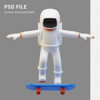 Astronaut-charakter-skateboarding in 3d-rendering