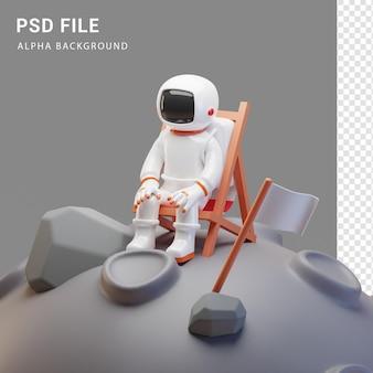 Astronauten-charakterillustration auf dem mond in 3d-rendering