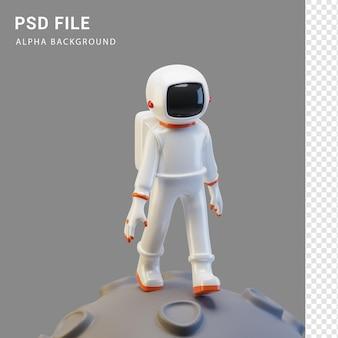 Astronauten-charakterillustration in 3d-rendering