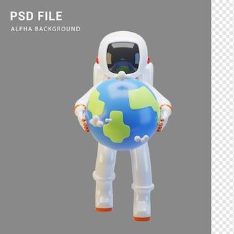 Astronautencharakter umarmt die erde in 3d-rendering