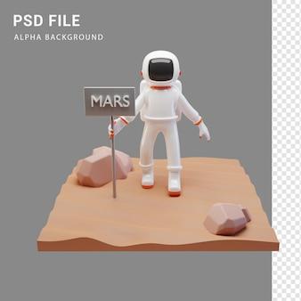 Astronautenfigur auf dem mars in 3d-renderingd