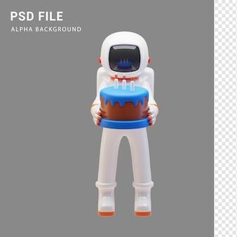 Astronautenfigur mit kuchen in 3d-rendering