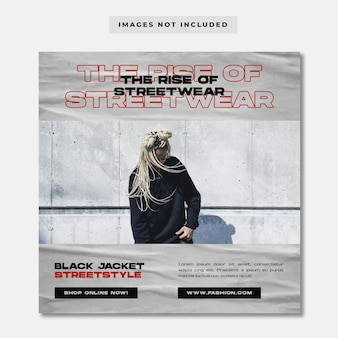 Aufstieg der streetwear mode instagram post vorlage