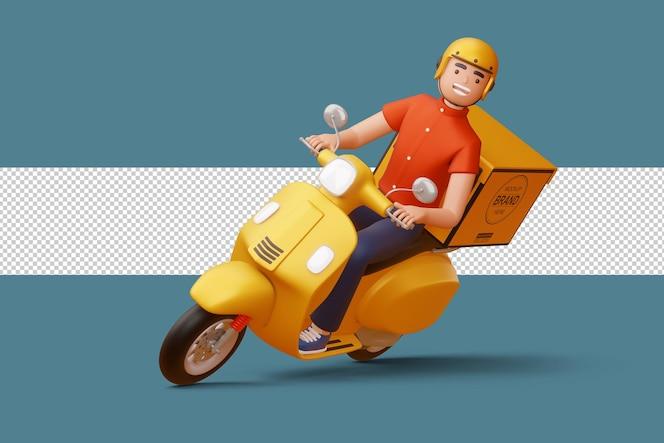 Auslieferungsmann, der ein motorrad mit auslieferungsbox in der 3d-wiedergabe reitet