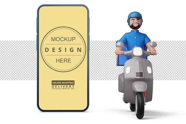 Auslieferungsmann, der ein motorrad mit telefon im 3d-rendering reitet