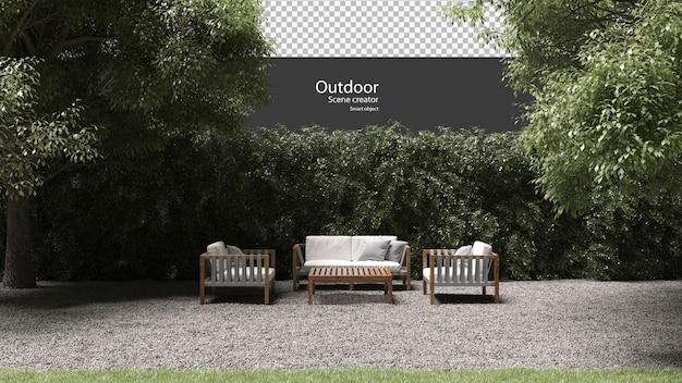 Außenmöbel auf kies in 3d-rendering