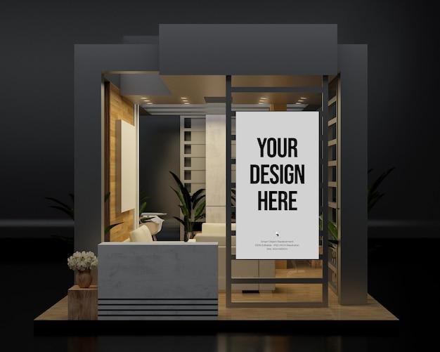Ausstellungsstand 3d-komposition modell wand banner