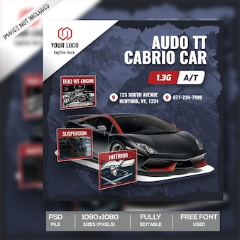 Automobilauto-verkaufs-instagram-beitrags-schablone