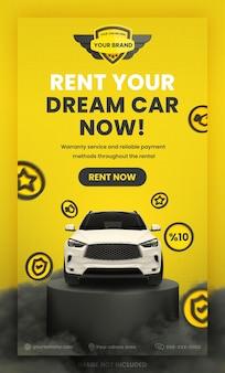 Autovermietung werbung social media instagram story banner vorlage premium psd