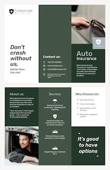 Autoversicherungsbroschüre vorlage psd mit bearbeitbarem text