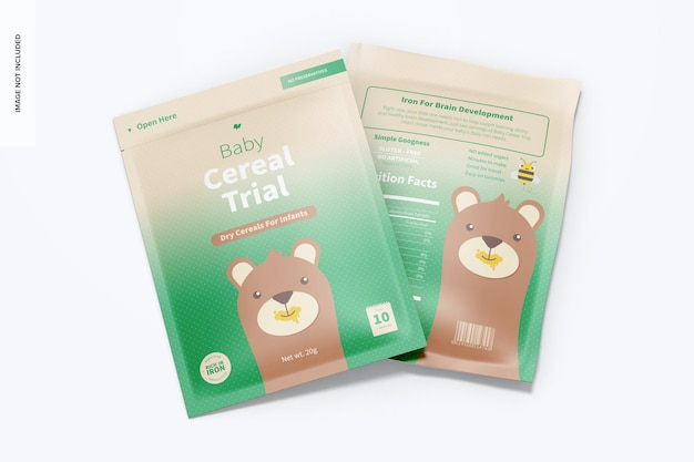 Baby cereal trial pack mockup, draufsicht Premium PSD