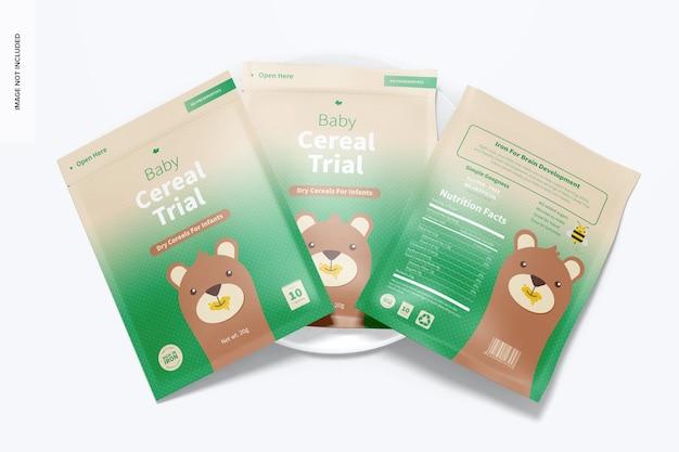 Baby cereal trial packs mockup