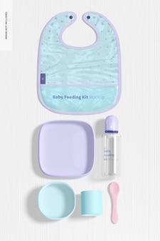 Baby-fütterungsset mockup, ansicht von oben
