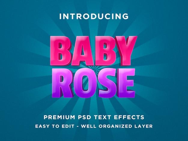 Baby rose - schablone des text-effekt-psd 3d