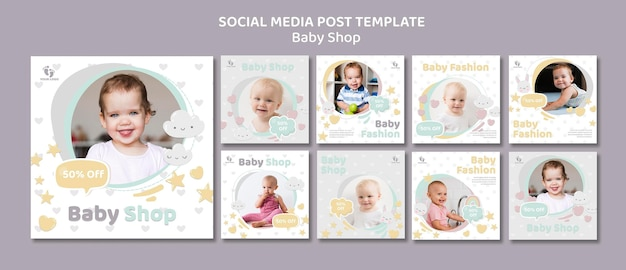 Baby shop social media post vorlage