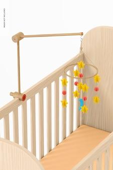 Babybett mobile mockup, ansicht von oben