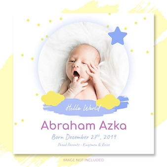 Babymitteilungseinladung zur babyparty-parteischablone